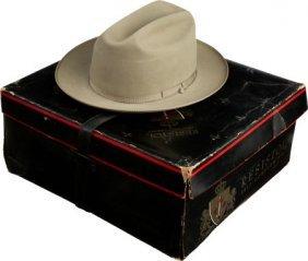"""Lyndon B. Johnson: Trademark Hat. Resistol """"silv"""