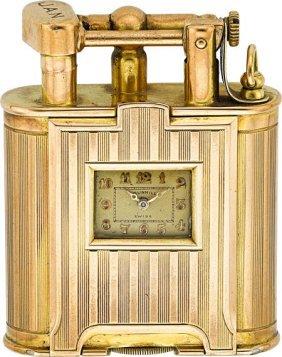 Dunhill Gold Lighter Watch, Circa 1920's Case: