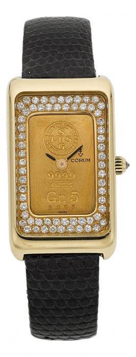 Corum Gold Ingot Watch With Diamond Dial Case: