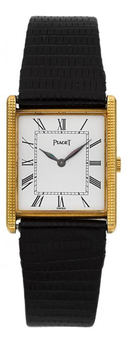 Piaget 18k Yellow Gold Rectangular Wristwatch Re