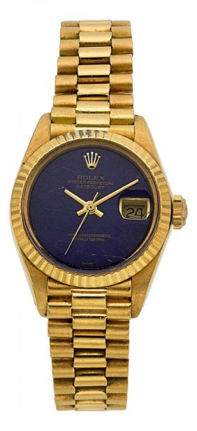 Rolex Lady's Gold Datejust Ref. 6917 With Lapis