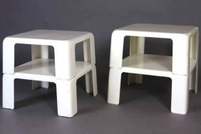 Four Mario Bellini Fiberglass Stacking Tables