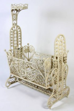 Victorian White Painted Wicker Cradle, American