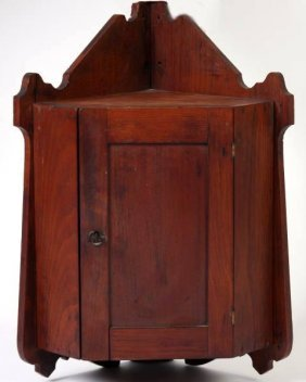 Country Walnut Hanging Corner Cabinet
