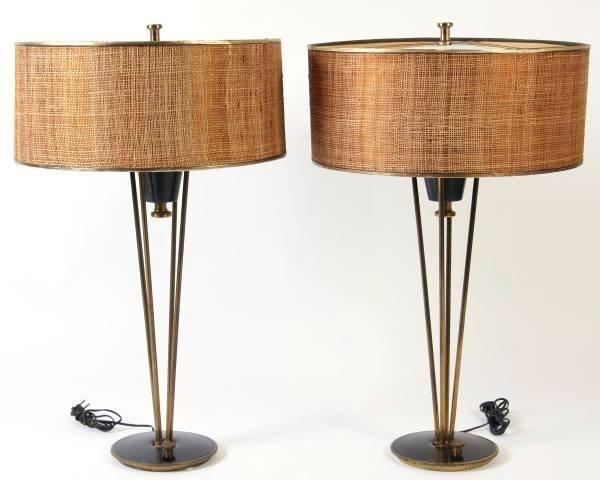 pair stiffel metal lamps attr gerald thurston lot 224. Black Bedroom Furniture Sets. Home Design Ideas
