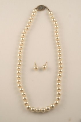 4mm Pearl Necklace With Post Earrings