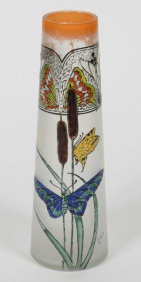 Legras Enameled Glass Vase