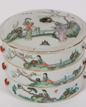 Chinese Three-tiered Porcelain Covered Box