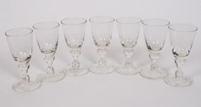 Set Of Seven Hand-blown Goblets