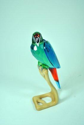 Signed Swarovski Crystal & Wood Macaw