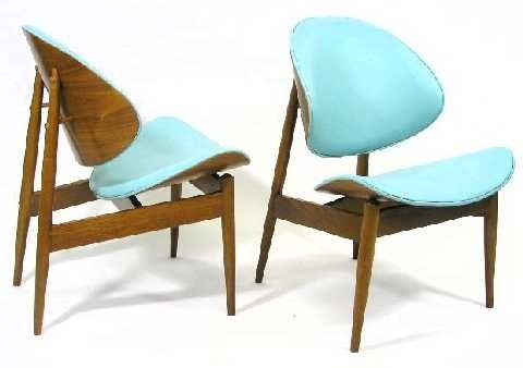 113b pair 1960 s kodawood clam chairs weiner style lot 113b