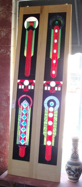 CONTEMP - PR STAINED GLASS PANELS MOUNTED IN BIFOLD PAN