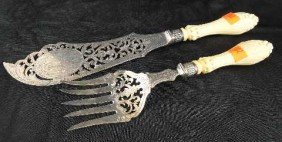ANTIQUE FISH SET - INTRICATE IVORY HANDLES & STERLING