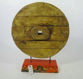 ANTIQUE CHINESE MOUNTED WOOD WHEEL