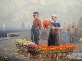 FLOWER MARKET - ALBRECT RUGGEN - DUTCH ARTIST - O/