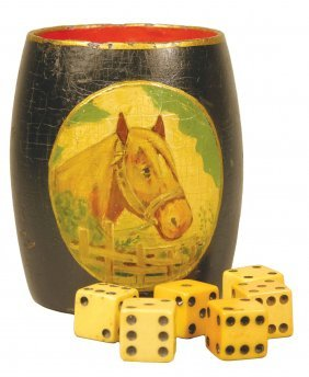 Rare Wood Dice Cup With Hand Painted Horse Motif