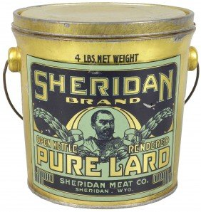 Sheridan Brand Pure Lard Tin Pail