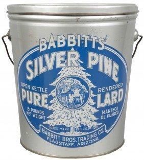 Babbitts' Silver Pine Pure Lard Tin Pail