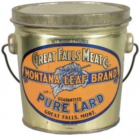 Great Falls Meat Co. Pure Lard Tin Pail