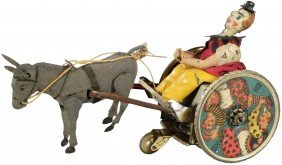 Mule W/Clown In Cart Tin Wind-Up Toy
