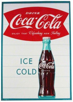 1963 Coca Cola Tin Sign Fishtail Logo
