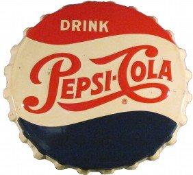 1956 Pepsi-Cola Bottle Cap Tin Sign