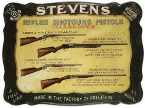 Stevens Firearms Self Framed Tin Sign