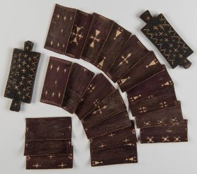Unusual Group Of Twenty Wooden Cards With Carved