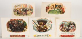 Group Of Five Cigar Labels With Playing Card Or