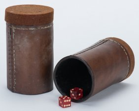 Pair Of Leather Butterfly Dice Cups. American, Maker