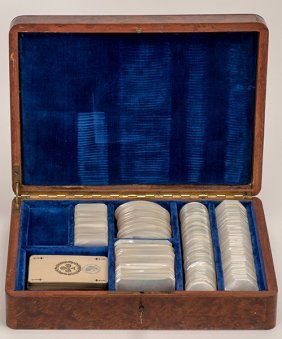 Cased Set Of Mother Of Pearl Game Markers. French (?),