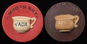 "Two ""who Is Shy"" Poker Bucks. American, Ca. 1900."