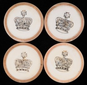 Four Crown Inside Yellow Rim Ivory Poker Chips. English