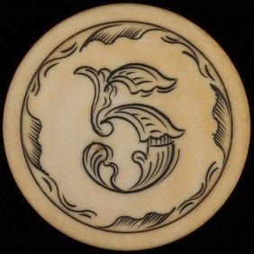 Five Dollar Ivory Poker Chip. American, Ca. 1890. Five