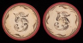Two Five Dollar Ivory Poker Chips. American, Ca. 1890.