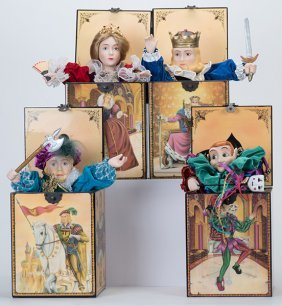 Four Playing Card Music Boxes From The Kingdom Of Cards