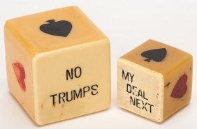 """Two """"my Deal Next"""" Trump Indicator Cubes. Circa 1930."""