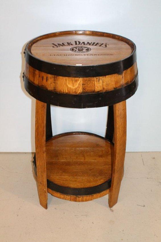 oak jack daniels whiskey barrel table lot 316. Black Bedroom Furniture Sets. Home Design Ideas