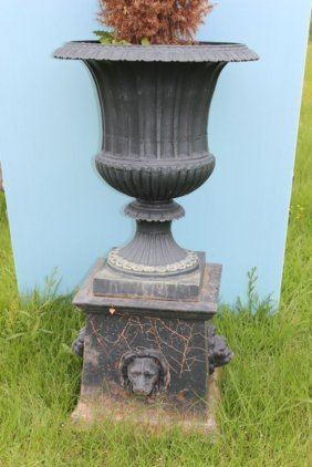 Two Piece Cast Iron Fluted Urn