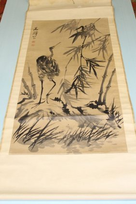 "Chinese ""egret And Bamboo"" Ink On Paper Scroll"