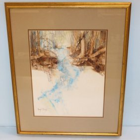Margo Thomas Watercolor Of Waterfall