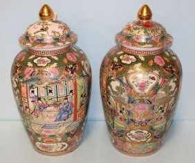 Pair Of Chinese Rose Medallion Style Urns
