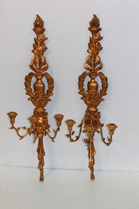 Pair Of Three Light Gilt Sconces