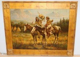 """""""troy Denton"""" Oil Painting Of Natives On Horseback"""