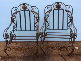 Pair Of Ornate Iron Arm Chairs