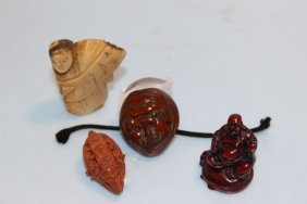 Four Small Carved Asian Pieces