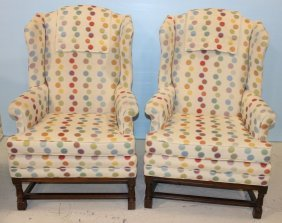 Pair Of Polk-a-dot Wing Back Chairs