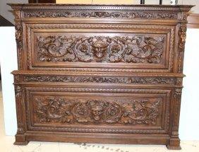 Heavily Carved Oak Bed