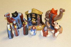 Ten Piece Wolfe Pottery Nativity Signed M. Wolfe