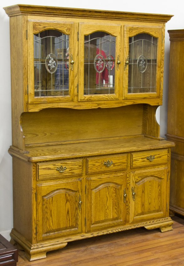 American oak china cabinet by kushwood lot 74 for Chinese kitchen cabinets nj